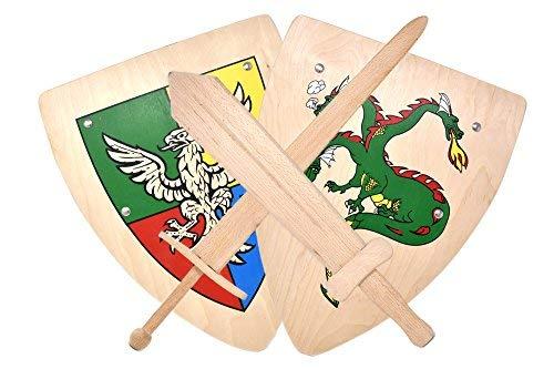 Ritter Kinder Holz Schwert und Holz Schild Kampfset mit Drachen und Adler Wappen Ritterschild Ritterschwert -