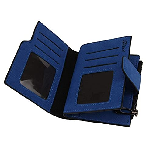 Kolylong Women Mini Grind Magic Bifold Leather Wallet Card Holder Purse (Blue)
