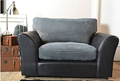 Bailey Cuddle Chair - Black Bison / Grey Cord by Made In The UK - Sold by Cut Price Suites