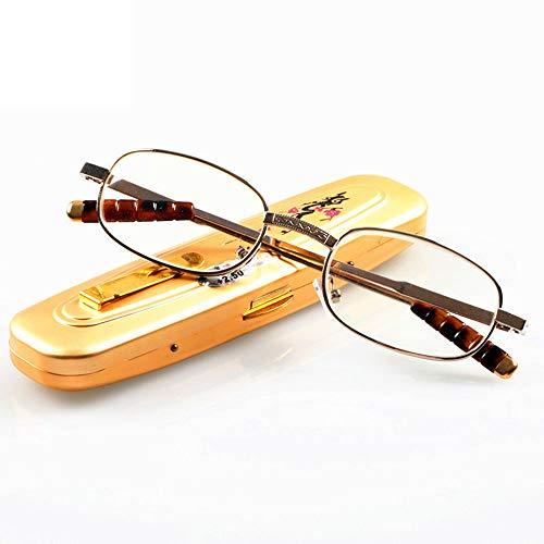 Fashion Lesebrille Anti-Müdigkeit Glaslinsen Tragbare Brillen Aluminiumlegierung Brillenetui