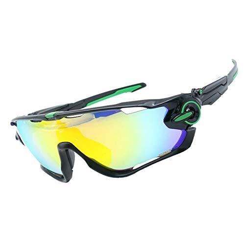 Sonnenbrille 400 Uv Herren Sportbrille Mit Wechselgläsern Wind Reiten Brille Vier Linsen Windschutzscheibe Windschutzscheibe Black Green Frame+4 Lens Kit Damen Herren