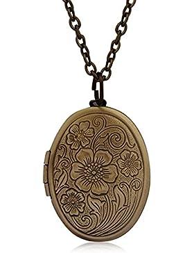 Fajewellery Jahrgang Herz Foto Bild Medaillon Anhänger Lange Halskette Halskette für Damen