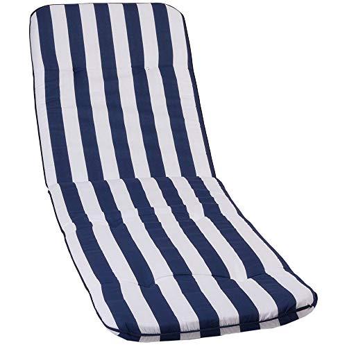 nxtbuy Auflage für Gartenliegen Capri 193 x 60 x 5 cm - Liegenauflage mit Komfortschaumkern und Bezug - Sitzpolster für Gartenliegen - ÖkoTex100, Dessin:Blue & White