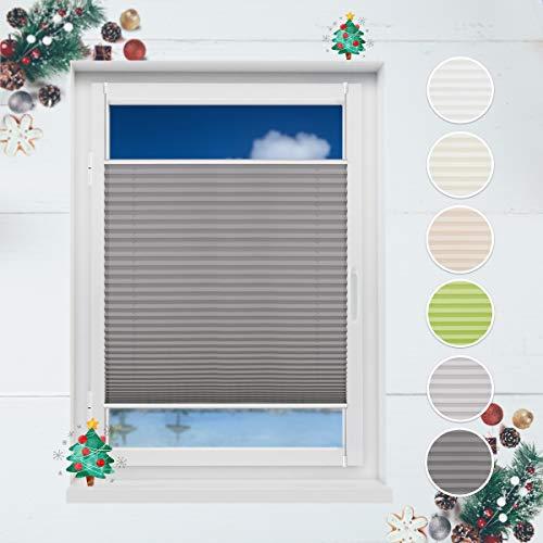 HOMEDEMO Plissee Klemmfix Rollo ohne Bohren 80x130 cm Rollo für Fenster Sichtschutz und Sonnenschutz Jalousie Anthrazit