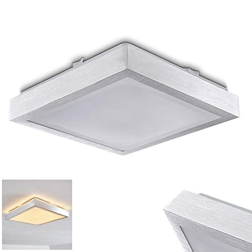LED Deckenleuchte Wutach, eckige Deckenlampe aus Metall in Alu gebürstet, 1 x 12 Watt, 800 Lumen, Lichtfarbe 3000 Kelvin (warmweiß), IP 44, auch für das Badezimmer geeignet -