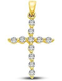14 K Or jaune religieuse chrétienne Crucifix Croix latine Charm pendentif  avec CZ Oxyde de Zirconium d945e27234e7