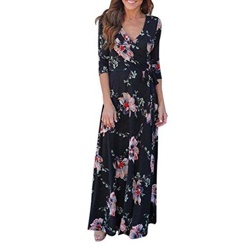 Bescita Sommer Frauen v-neck Boho lange Maxi Abend Party Strand Kleid Floral Sommerkleid Schwarz1