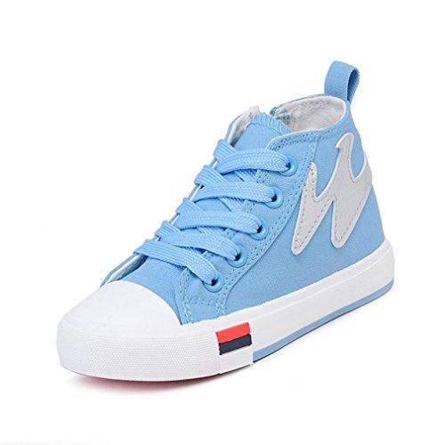 Unisex-Kinder Sneaker Canvas Rundzehen High Top Reißverschluss Freizeitschuhe Rutschfest Abriebfest Bequem Schick Schuhe Hellblau 29