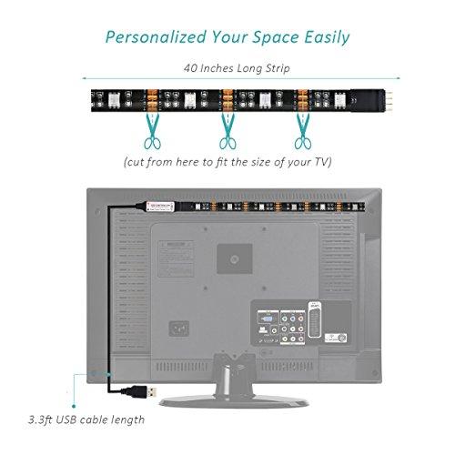 Strisce-LED-OMorc-Light-Kit-Sfondo-Striscia-Flessibile-Impermeabile-8-Colori-LED-Illuminazione-Backlight-Autoadesive-per-HDTV-USB-con-Telecomando-Nero