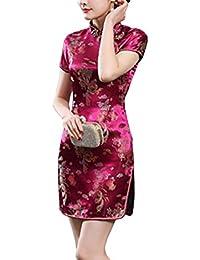 151ed2187d8b Freestyle Cinese Tradizionale Cheongsam Abito Donna Moda Corto Vestiti  Classico Maniche Corte Tuta Tang Elegante Fiore