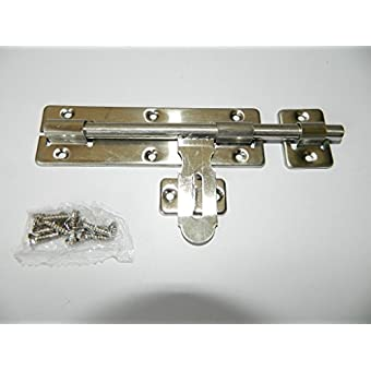 Verrou de box porte cadenas mètal , H.34 x L.120 x P.1,3 mm