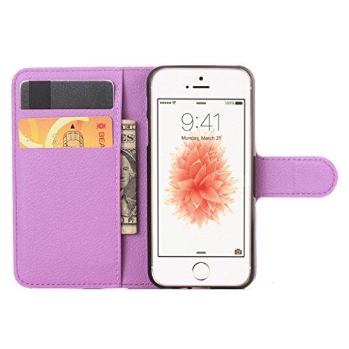 Coque Pour iphone 4 Rétro Litchi Texture PU Cuir Portefeuille Étui à rabat Housse avec Support Protection Antichocs Case Etui Pour iPhone 4 / iPhone 4S - Blanc Violet