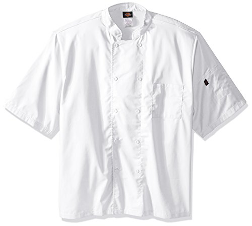 Double Breasted Drop (Dickies Chef Men's Unisex Cool Breeze Short-Sleeve Coat, White, 5X-Large)