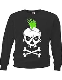 """Sweatshirt """"Punk Shirt - Punker Skull - Gothic - Motorcycle Shirt - motorrad - Rocker Motive - Chopper - Custom Bike - Route 66 - Motorrad Club - MC - Kutte - """" in Schwarz"""