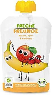 Freche Freunde Bio Quetschie Banane, Apfel & Himbeer, Fruchtmus im Quetschbeutel für Babys ab 6 Monaten, g