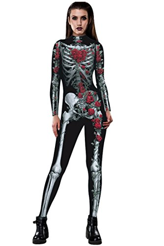 URVIP Skelett Overall Damen Knochen Skeleton Halloween Kostüm -
