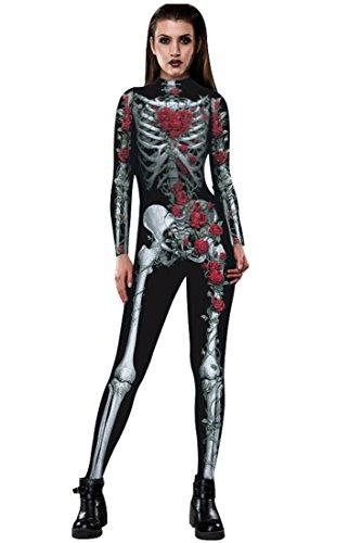 URVIP Skelett Overall Damen Knochen Skeleton Halloween Kostüm Bodysuit Anzug Karneval Fasching BAX-008 ()