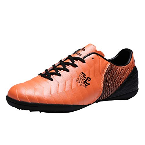 HDUFGJ Unisex-Erwachsene Fußballschuhe rutschfest Geringe Hilfe Kinder Trainingsschuhe Outdoor Sport Football Schuhe Herren Damen Jungen Mädchen33 EU(Orange)