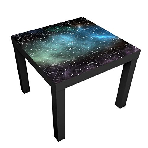 Beistelltisch Sternbilder Karte Galaxienebel, Tischfarbe: Weiss, 55 x 55 x 45cm