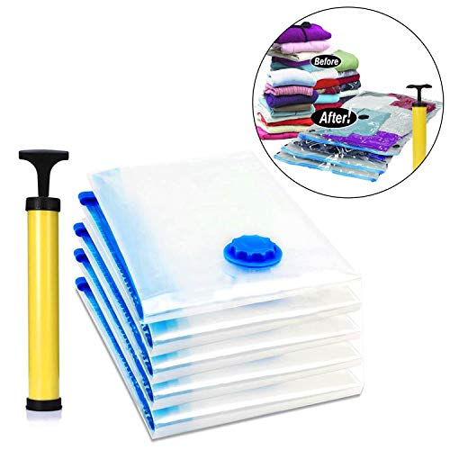 Kurtzy Vacuum Storage Reusable Ziplock Smart Space Saver Bags (Pack of 5) 2 Small (40 cm x 60 cm), 2 Medium (50 cm x 70 cm), 1 Large (60 cm x 80 cm) with Hand Pump for Travel