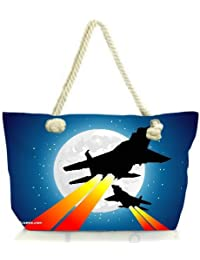 Snoogg Moon And Jet Fighters Women Anchor Messenger Handbag Shoulder Bag Lady Tote Beach Bags Blue