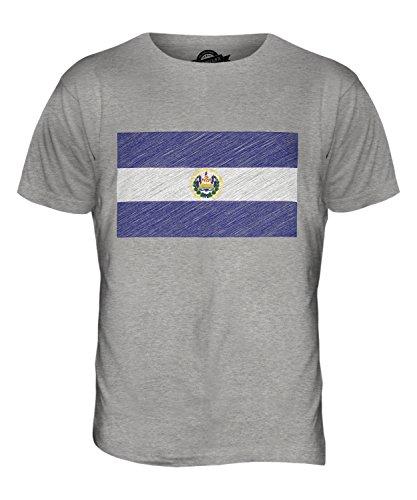 CandyMix El Salvador Kritzelte Flagge Herren T Shirt Grau Meliert