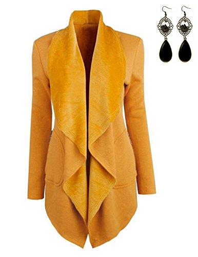 Eine Gestickte Strickjacke (Sitengle Damen Strickjacke mit Revers langarm Cardigan mit Seitentasche Offene Strickmantel Gelb S)