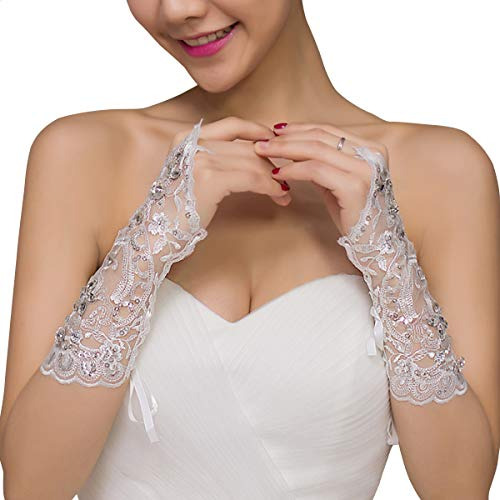 Dokpav Brauthandschuhe Lang Spitzenhandschuhe Hochzeit Braut Hochzeitshandschuhe Brautkleid Spitze Fingerlose Handschuhe für Hochzeitsfest Hochzeit Party - ()
