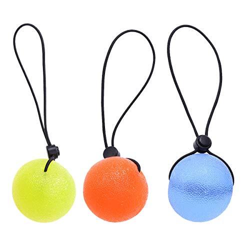 Healifty Eignungshandtherapiebälle 3 Stücke Handgriffe Finger Finger Grip Ball Therapie Übung Squeeze Eier Stress Bälle mit String Fitness Ausrüstungen (gelb/Orange / Blau)