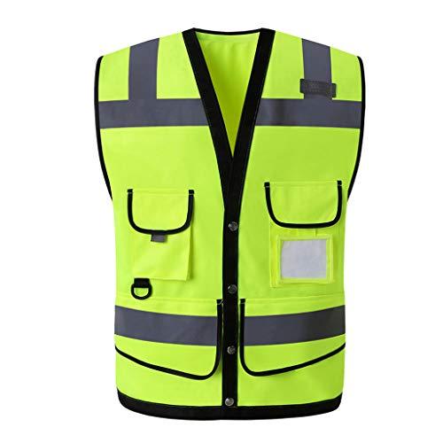 Zyj stores-Sichtweste Reflektierende Weste Multi-Tasche Verkehrssicherheit Schutzweste Verkehr Fluoreszierende Warnkleidung (Color : Fluorescent Yellow, Größe : L)