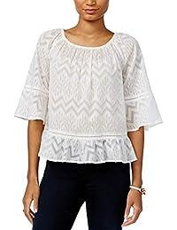 039f0abc6f5 Tommy Hilfiger Womens Crochet-Trim Peplum-Hem Top (Off White