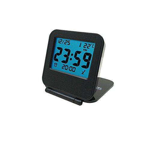 Yxaomite Einfache Reise Wecker Multifunktionale Modische Digital Glocke mit LCD Nachtlicht und Temperatur und Datum Snooze Alarm Tisch Dünne Uhr (Quadrat)