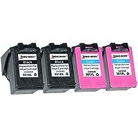 Logic-Seek® - Cartucce per HP 301xl nero HC, 20 ml, compatibile con CH563EE, colore nero (07) - 4x set con supporto
