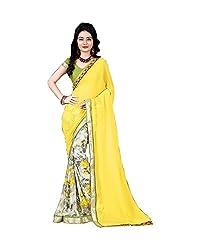 Airson Fab Yellow print Designer Saree