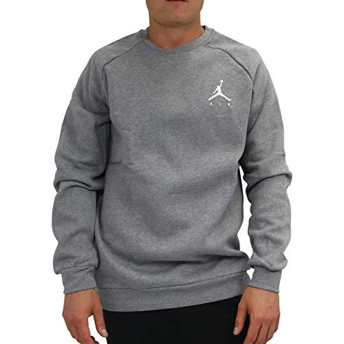 Nike Herren Jumpman Fleece Crew Sweatshirt S Carbon Heather/White - Air Pullover