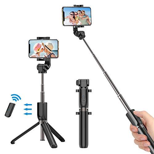 Bovon Perche Selfie Bluetooth, Selfie Stick Trépied Monopode avec Télécommande Rechargeable, Bâton Réglable Télescopique avec Support Téléphone pour Smartphones (Noir)