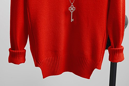 Bigood Sweater Femme Tricot Pull Col V Manches Longues Lâche Casual Rouge