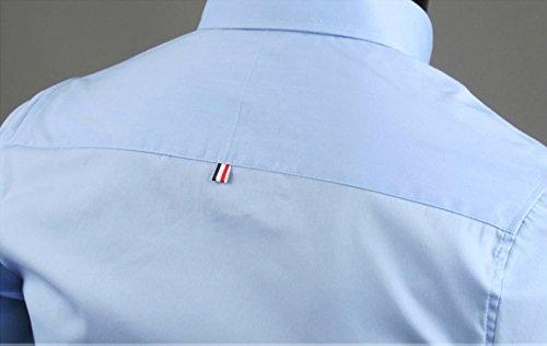 Homme Sport Chemise de Finition Habillée Manches Longues Couleur Contrasté Slim Fit Bleu Clair
