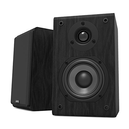 LONPOO LP42 Regallautsprecher Kompaktlautsprecher Lautsprecher Boxen Mit 4-Zoll-Carbon-Fiber Woofer und Silk Dome Tweeter 150-Watts (75Wx2, Schwarz, 1 Paar) (4x4 Behandeln-box)