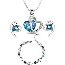 findout swarovski ametista, rosso, rosa blu bianco collana pendente di cristallo del cuore d'argento + earring + bracelet set, per le donne le ragazze. (f497)
