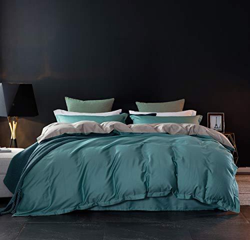 Sleepbella Bettwäsche-Set, 3-teilig, ägyptische Baumwolle, Bettdeckenbezug Queen Lake Blue&Cream-Colored -