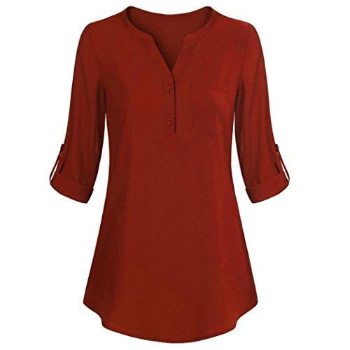 VEMOW Elegant Damen Tops Langarm Roll-Up Top Casual V-Ausschnitt Knopf Layered Shirt Blusen Tunika T-Shirts(Y1Orange, EU-40/CN-S)