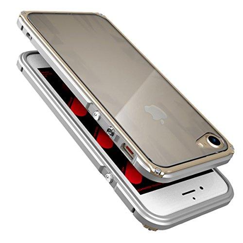 iPhone 6 / 6S Coque ,SHANGRUN Aluminium Metal Frame Bumper Coque + Dazzle couleur PC Matériel Protictive Couvercle housse Etui Protection Case pour iPhone 6 / 6S (4.7 inch) ArgentBleu ArgentOr