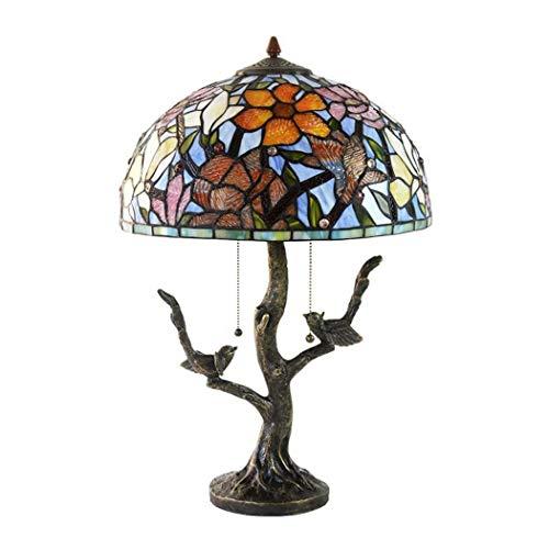 Art Glass Vintage Tisch Lampe (WJMLS Tiffany-Art-Tischlampe, warme romantische Retro- Buntglas-Tischleuchten, Wohnzimmer, Schlafzimmer Dekorations-Nachttischlampen, Nachtlampe Vollkupfer-Schreibtischlampen)
