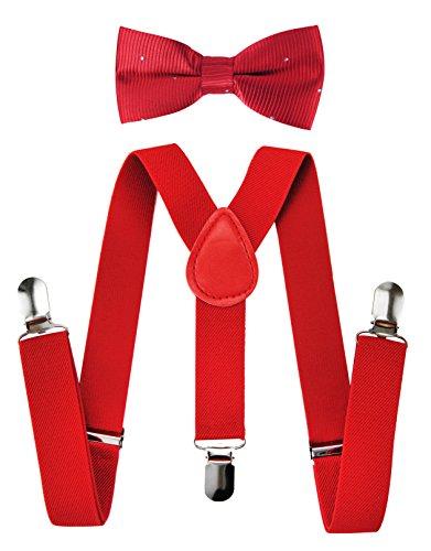 axy Kinder Hosenträger-Y Form mit Fliege set - 3 Clips EXTRA STARK-Uni Farben HTK25-3 (Rote Hosenträger + Fliege Nr.11) (Weihnachten Für Anzüge Jungen)