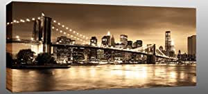 LARGE NEW YORK BROOKLYN BRIDGE SEPIA BROWN CANVAS PICTURE ARTWORK mounted and ready to hang 44 x 20 inches (113 x 52 cm) 34 mm frame
