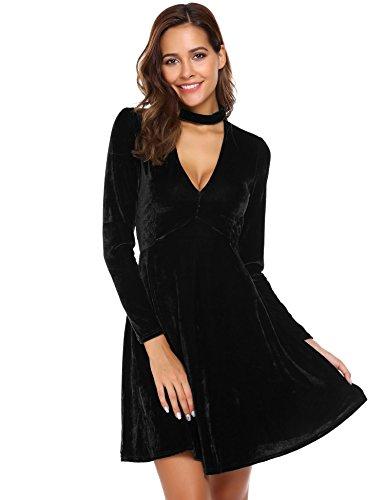 Chigant Damen Herbst Winter Samt Kleider Mini Cocktailkleid Langarm Neckholder Abendkleid V-Ausschnitt Partykleid Schwarz