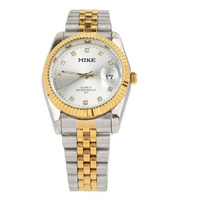 Orologi da polso , Quadrante bianco gioielli uomini diamante placcato oro orologio al quarzo con visualizzazione data / acciaio cinturino ( SKU : S-wa-0241a )