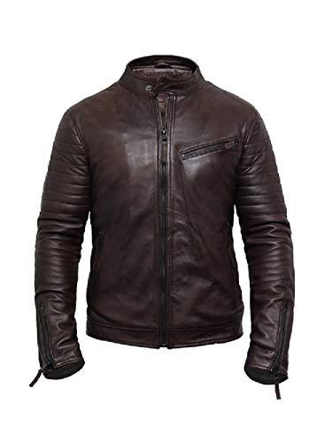 p-Qualität braunes echtes Leder Vintage Biker Jacke (M, Braun) ()