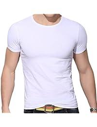 QIYUN.Z Hombres Casuales Color Solido De Manga Corta Ronda Cuello Bodycon Delgada Camisa De La Blusa Camiseta
